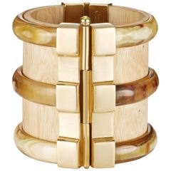 Fouche Bespoke Diana Vreeland Horn Wood Emerald Ruby Gold Cuff Bracelet
