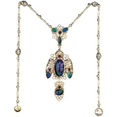 John Bonnor a Superb Arts & Crafts Gold, Black Opal and Ruby Necklace