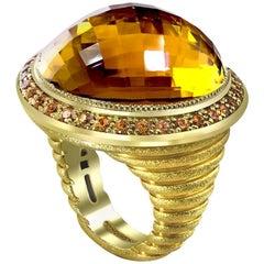 Citrine Spessartite Garnet Yellow Gold Textured Ring Limited Edition