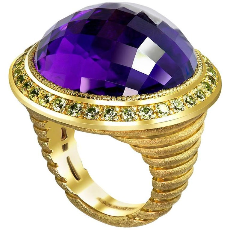 Alex Soldier 40 ct Amethyst Peridot Yellow Gold Symbolica Ring One of a Kind  For Sale