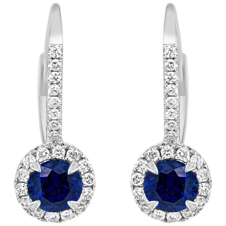 Blue Sapphire Round Diamond Halo Gold Dangle Leverback Earring