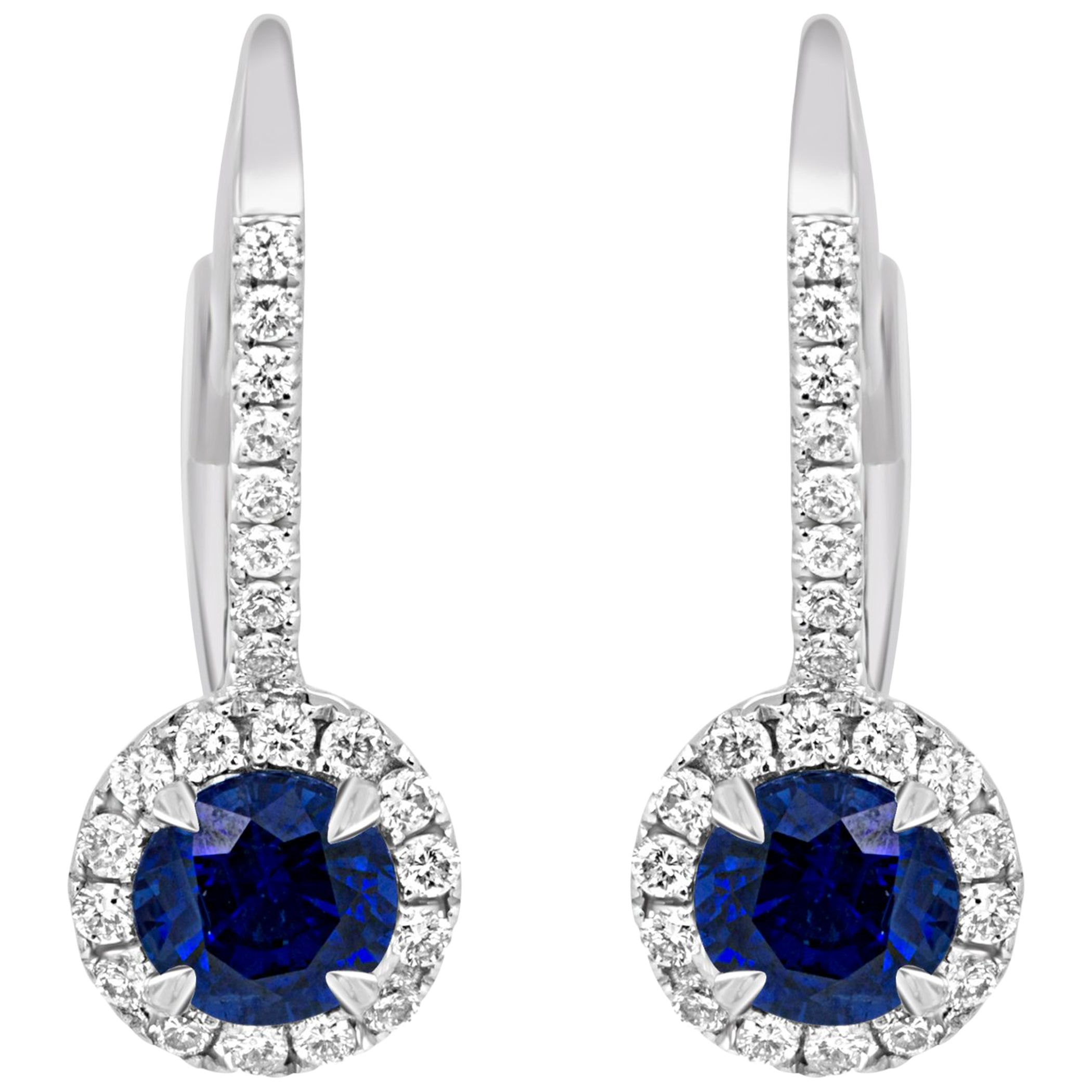 Blue Sapphire Round Diamond Halo Gold Dangle Leverback Earring