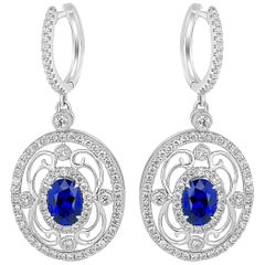 Blue Sapphire Diamond Halo Dangle Gold Earring
