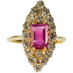 Antique Burma Pink Sapphire Ring