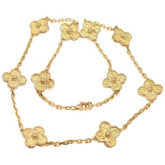 Van Cleef & Arpels Vintage Alhambra Ten Motif Gold Necklace