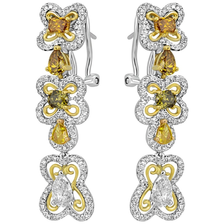 Natural Multi-Color Diamond Two Color Gold Dangling Lever Back Earring For Sale