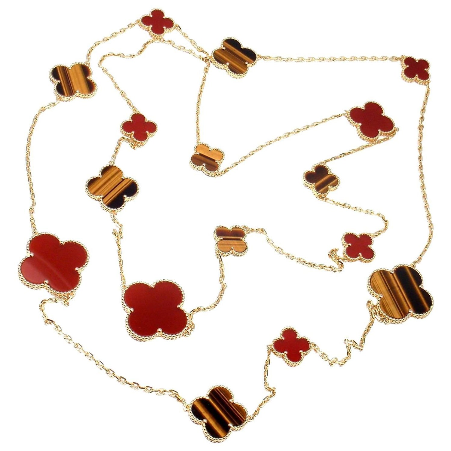 Yafa signed jewels new york ny 1stdibs page 4 - Van Cleef Amp Arpels Magic Alhambra Carnelian Tiger Eye 16 Motif Long Necklace