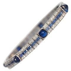 1920s Cabochon Sapphire Diamond Bracelet