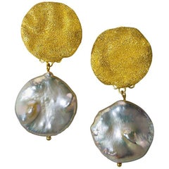 Pearl Silver Gold Textured Drop Dangle Earrings Limited Edition Handmade in NYC