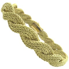 Vintage Italian Yellow Gold Braided Tapered Bracelet