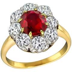 2.07 Carat No Heat Ruby Diamond Cluster Ring
