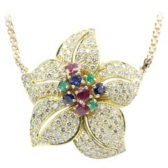 Retro Gold Diamond Emerald Ruby Sapphire Flower Necklace