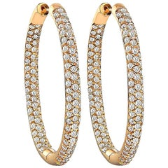 Stunning Diamond Rose Gold Hoop Earrings