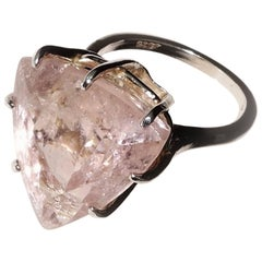 Sparkling Trillion Morganite Set in Sterling Silver Ring