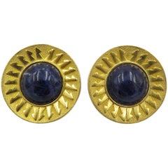Lalaounis Sodalite Gold Earrings
