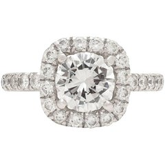 GIA Report 1.20 Carat Round Diamond Halo Engagement Ring