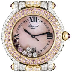 Chopard Ladies Yellow White Gold Fully Loaded Diamond Pink Diamond Wristwatch