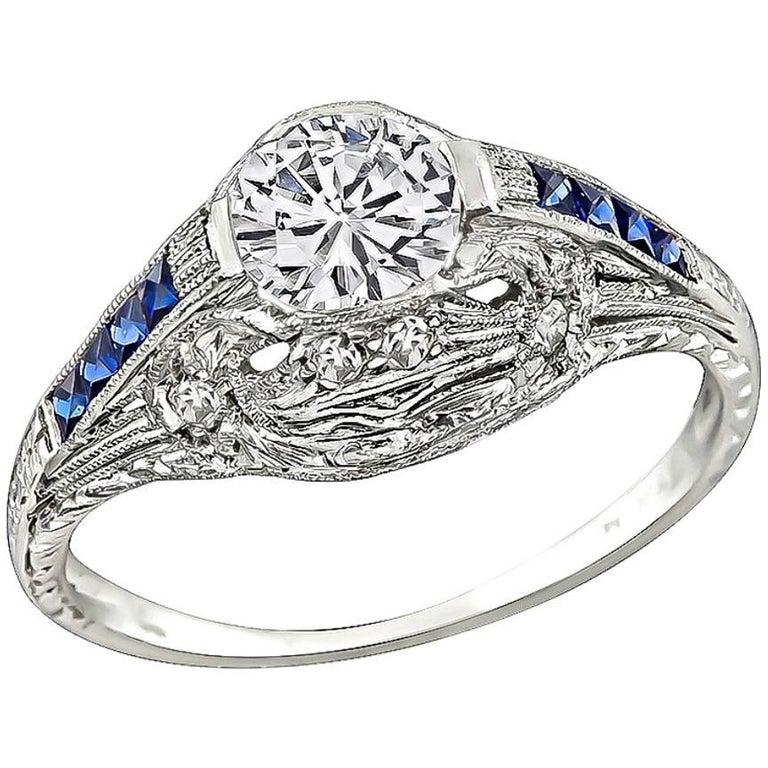 Art Deco GIA Certified 0.59 Carat Diamond Engagement Ring