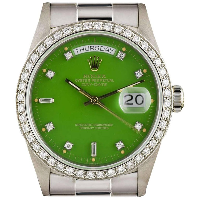 Rolex White Gold Green Stella Dial Day Date Omani Crest Automatic Wristwatch For Sale