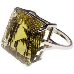 Square Brazilian Fancy Cut Green Gold Quartz and Sterling Silver Ring