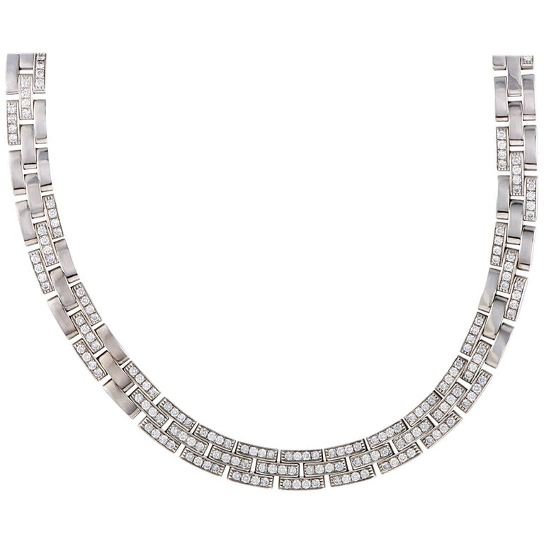 Cartier Maillon Panthere Diamond White Gold Collar Necklace