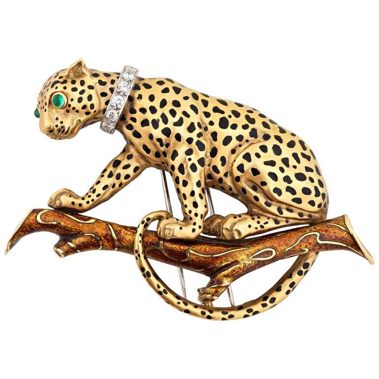 David Webb Leopard Brooch
