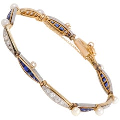 Diamond Sapphire and Pearl Yellow and White Gold Bracelet