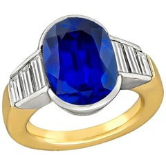 GIA Certified No Heat 7.71 Carat Sapphire Diamond Ring