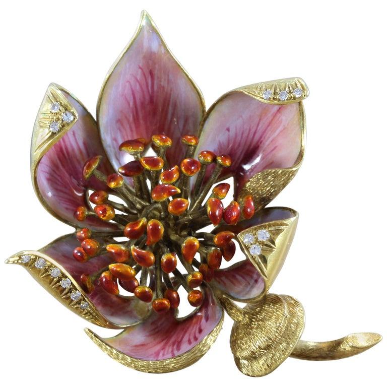Italian Enamel Diamond Gold Flower Brooch
