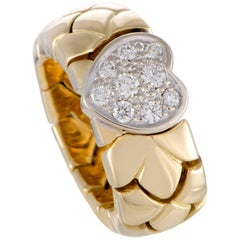 Pomellato Diamond Pave Heart Yellow and White Gold Band Ring