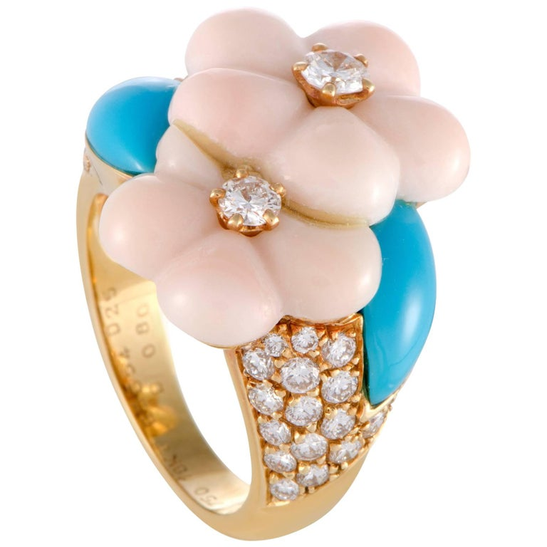 Van Cleef & Arpels Diamond Coral and Turquoise Yellow Gold Ring For Sale