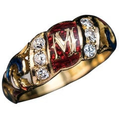 Renaissance Style 'M' Monogram Gold Enamel Diamond Ring