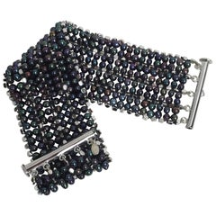 Marina J Black Pearl, Rhodium Plated Sterling Silver Beaded Bracelet and Clasp