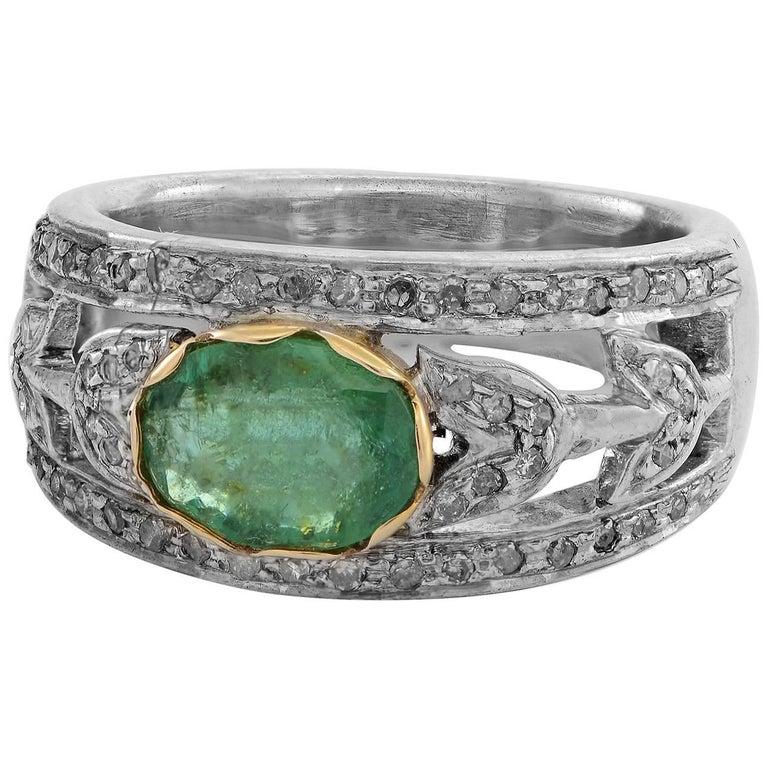 Emma Chapman Calcutta Emerald Diamond Yellow Gold Silver  Ring