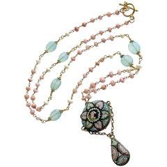 Peruvian Pink Opal Aqua Chalcedony Micro Mosaic Necklace