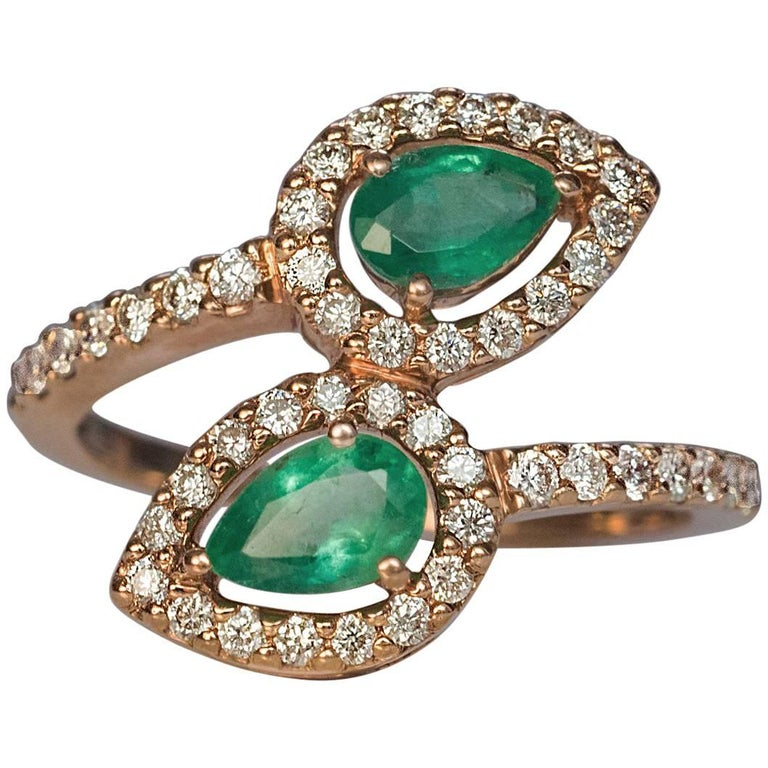 contemporary bypass emerald gold ring for sale at
