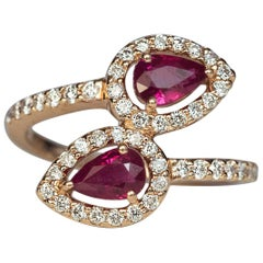 Contemporary Bypass Ruby Diamond Gold Ring
