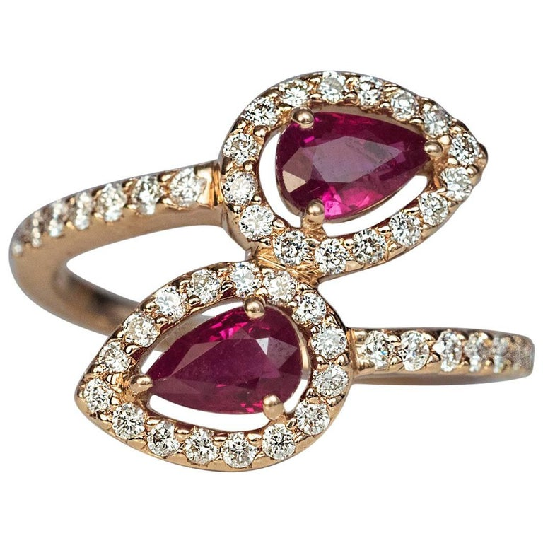 db460665aded9c Contemporary Bypass Ruby Diamond Gold Ring For Sale. A modern 14K Russian  ...