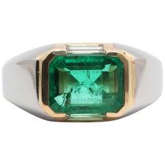 Bulgari, Emerald Diamond Gold Engagement Ring