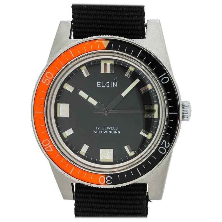 Elgin Stainless Steel Bakelite Bezel Diver's Automatic Wristwatch