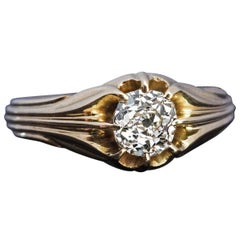 Antique Art Nouveau Cushion Cut Diamond Gold Unisex Ring