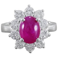 GIA Certified Cabochon Burma Ruby Diamond Platinum Ring
