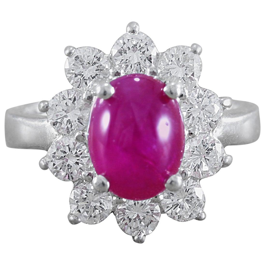 GIA Certified Cabochon Burma Ruby Diamond Platinum Ring