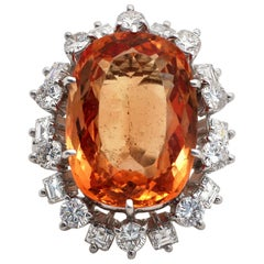 Topaz Diamond Gold Cocktail Ring