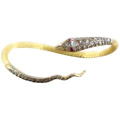Egyptian Revival Diamond Ruby Gold Serpentine Snake Cuff Bracelet