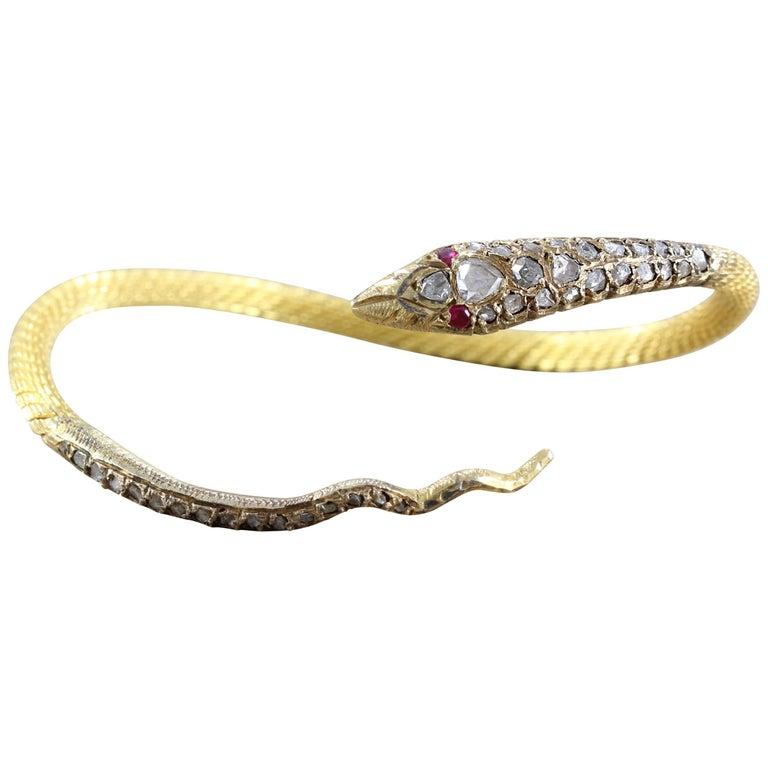Egyptian Revival Diamond Ruby Gold Serpentine Snake Cuff Bracelet