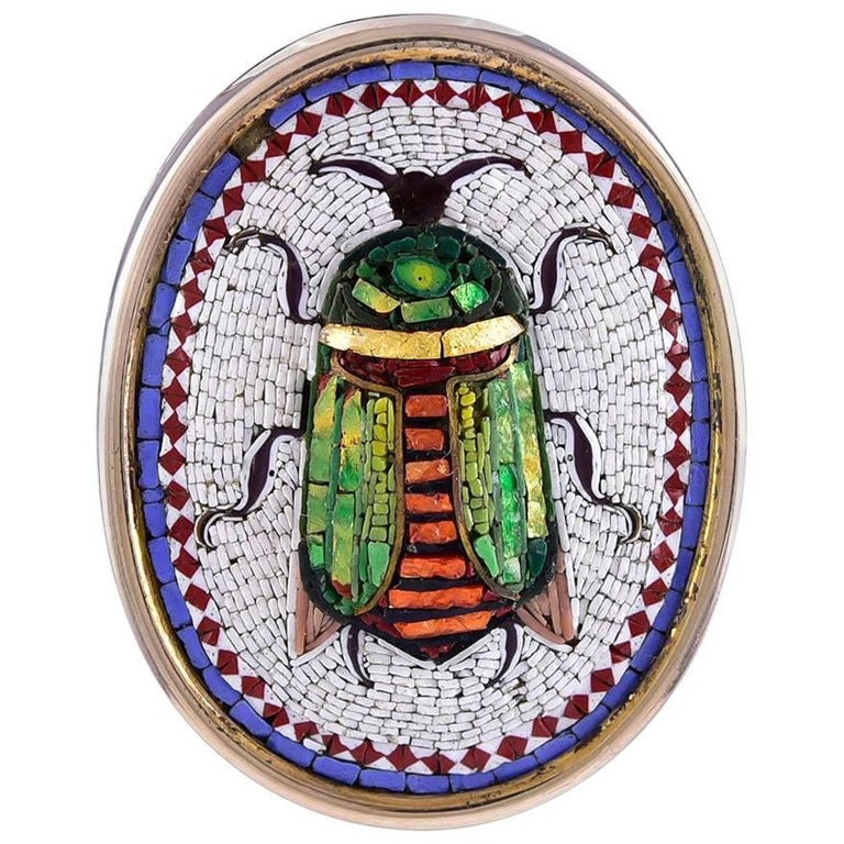 Antique Micro Mosaic Scarab Brooch