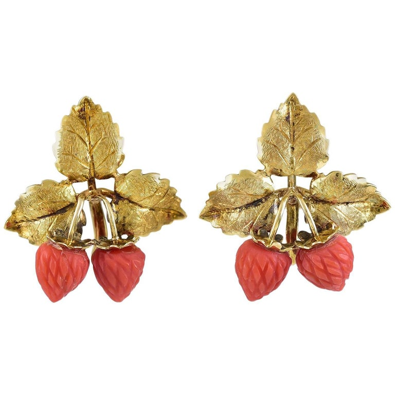 Coral Strawberries Gold Earclips