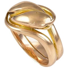 Antique Victorian Double Headed Gold Snake Ring
