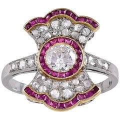 Antique French Edwardian Ruby Diamond Ring